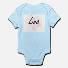 Lina Artistic Name Design with Butterfli Body Suit