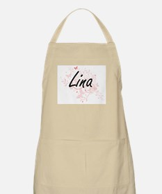 Lina Artistic Name Design with Butterflies Apron