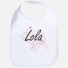 Lola Artistic Name Design with Butterflies Bib