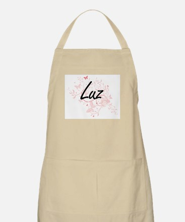 Luz Artistic Name Design with Butterflies Apron