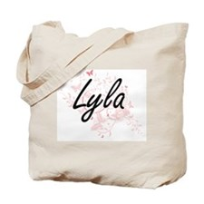 Lyla Artistic Name Design with Butterflie Tote Bag