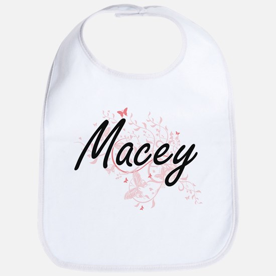 Macey Artistic Name Design with Butterflies Bib