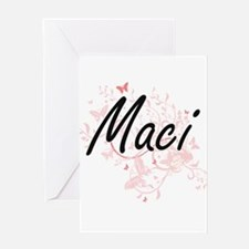 Maci Artistic Name Design with Butt Greeting Cards