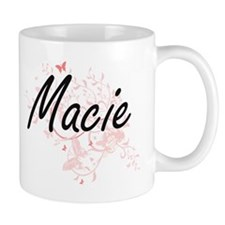 Macie Artistic Name Design with Butterflies Mugs