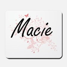 Macie Artistic Name Design with Butterfl Mousepad