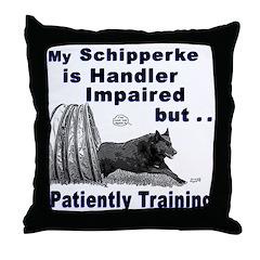 Schipperke Agility Throw Pillow