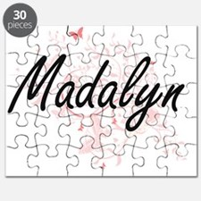 Madalyn Artistic Name Design with Butterfli Puzzle