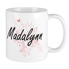 Madalynn Artistic Name Design with Butterflie Mugs