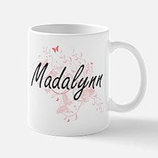 Madalynn Artistic Name Design with Butterflie Mugs