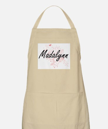 Madalynn Artistic Name Design with Butterfli Apron