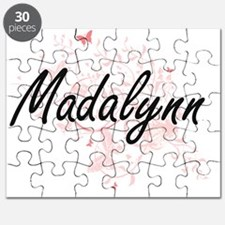 Madalynn Artistic Name Design with Butterfl Puzzle