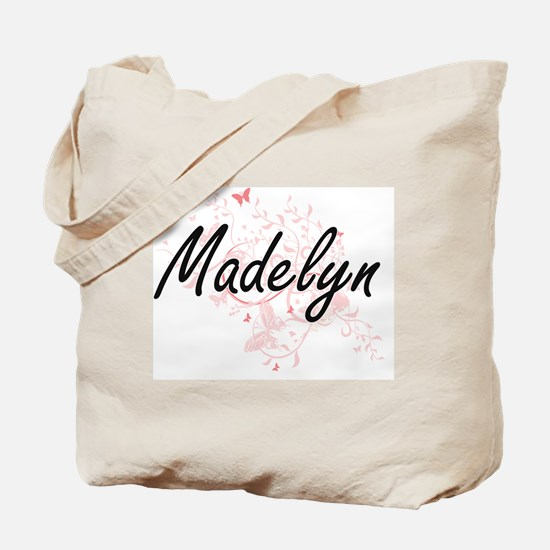 Madelyn Artistic Name Design with Butterf Tote Bag