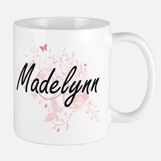 Madelynn Artistic Name Design with Butterflie Mugs