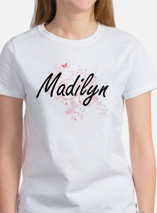 Madilyn Artistic Name Design with Butterfl T-Shirt