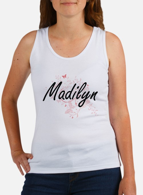 Madilyn Artistic Name Design with Butterf Tank Top