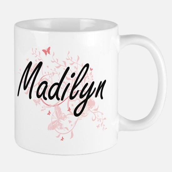 Madilyn Artistic Name Design with Butterflies Mugs