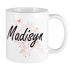 Madisyn Artistic Name Design with Butterflies Mugs