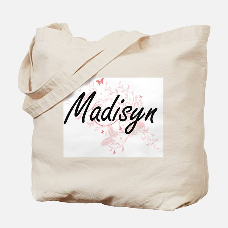Madisyn Artistic Name Design with Butterf Tote Bag
