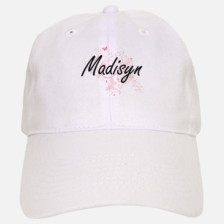Madisyn Artistic Name Design with Butterflies Baseball Baseball Cap