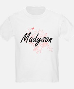 Madyson Artistic Name Design with Butterfl T-Shirt