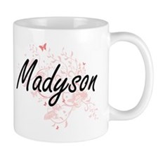 Madyson Artistic Name Design with Butterflies Mugs