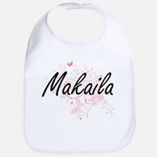 Makaila Artistic Name Design with Butterflies Bib