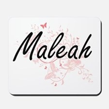 Maleah Artistic Name Design with Butterf Mousepad