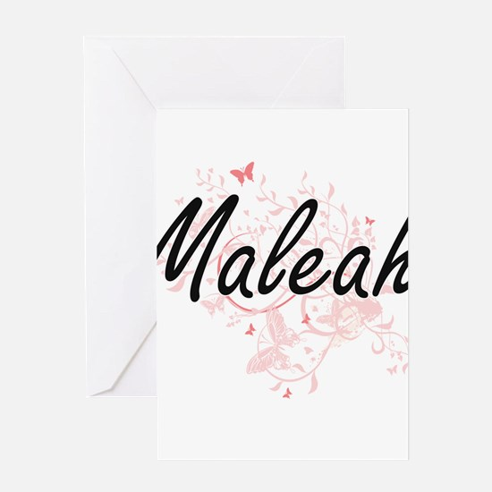Maleah Artistic Name Design with Bu Greeting Cards