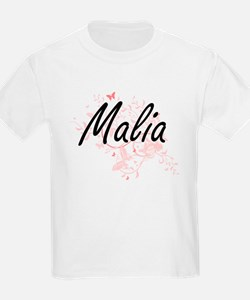 Malia Artistic Name Design with Butterflie T-Shirt