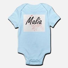 Malia Artistic Name Design with Butterfl Body Suit