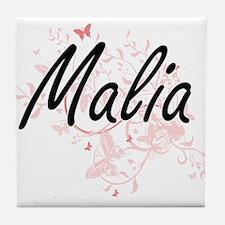 Malia Artistic Name Design with Butte Tile Coaster
