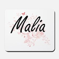 Malia Artistic Name Design with Butterfl Mousepad