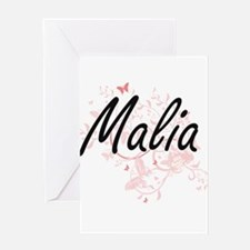 Malia Artistic Name Design with But Greeting Cards
