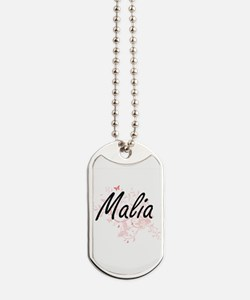 Malia Artistic Name Design with Butterfli Dog Tags