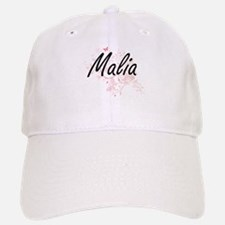 Malia Artistic Name Design with Butterflies Baseball Baseball Cap