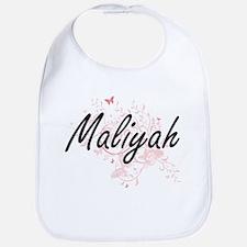 Maliyah Artistic Name Design with Butterflies Bib