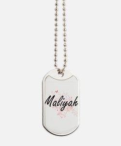 Maliyah Artistic Name Design with Butterf Dog Tags