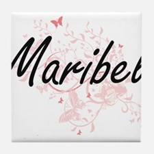 Maribel Artistic Name Design with But Tile Coaster