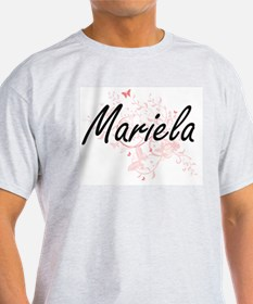 Mariela Artistic Name Design with Butterfl T-Shirt