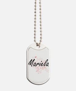 Mariela Artistic Name Design with Butterf Dog Tags