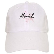 Mariela Artistic Name Design with Butterflies Baseball Cap