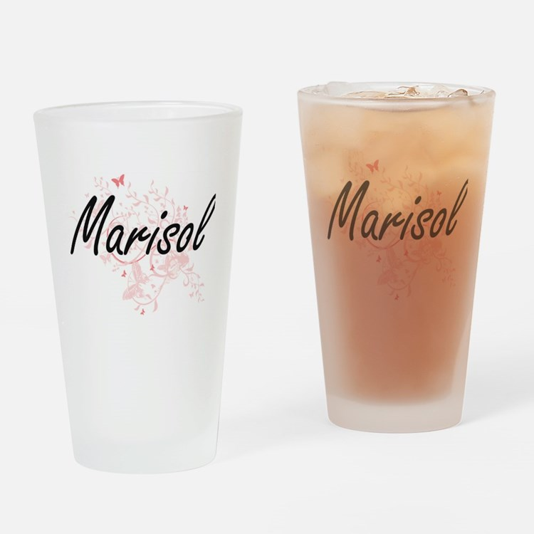 Marisol Artistic Name Design with B Drinking Glass