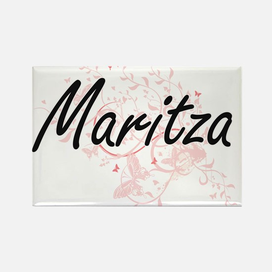 Maritza Artistic Name Design with Butterfl Magnets