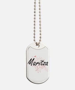 Maritza Artistic Name Design with Butterf Dog Tags
