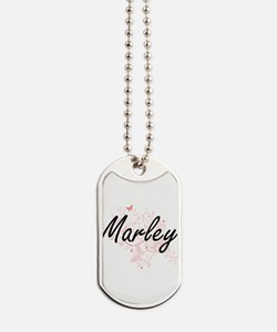 Marley Artistic Name Design with Butterfl Dog Tags