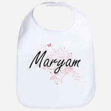 Maryam Artistic Name Design with Butterflies Bib