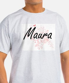 Maura Artistic Name Design with Butterflie T-Shirt