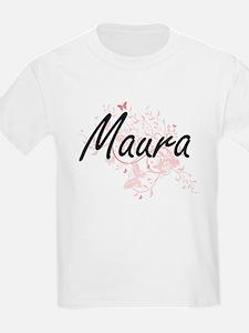 Maura Artistic Name Design with Butterflie T-Shirt
