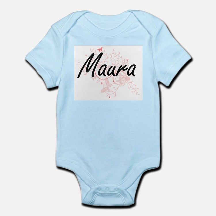 Maura Artistic Name Design with Butterfl Body Suit