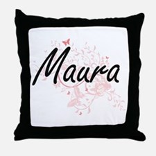 Maura Artistic Name Design with Butte Throw Pillow